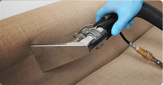 Fantastic pro cleaning a sofa close up