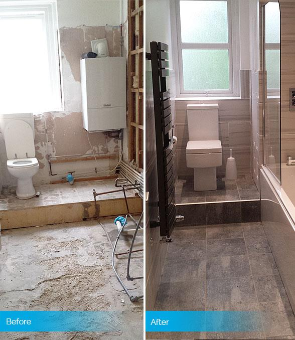 Before & After image of bathroom refurbishment project