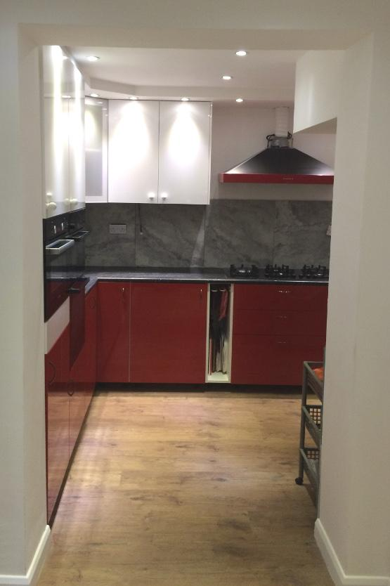 Newly fitted red kitchen