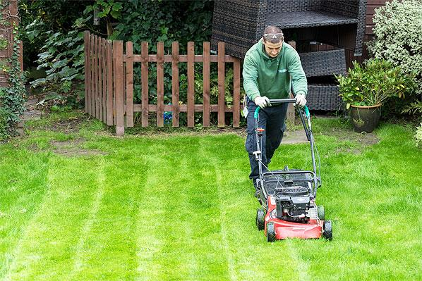 Fantastic gardener mowing a lawn