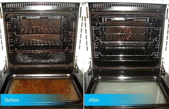 Oven cleaning services results - before & after