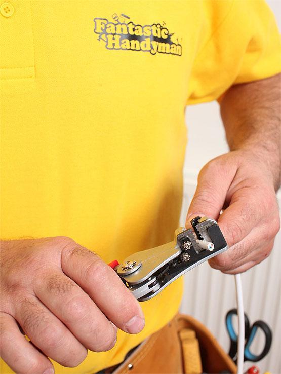 Handyman fixing wires