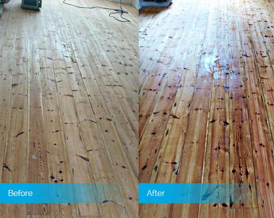 Before and after colouring wood floor