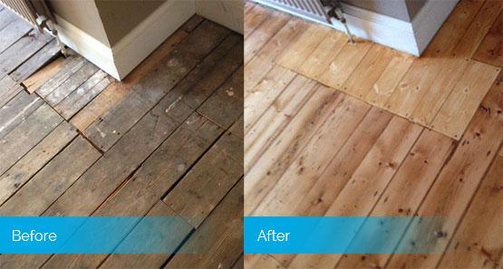 Before and after image of floor repair