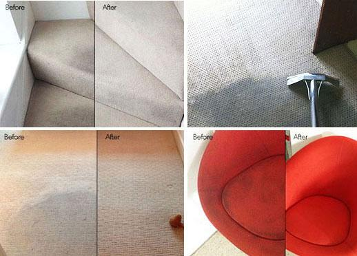 Before and after images of carpet cleaning