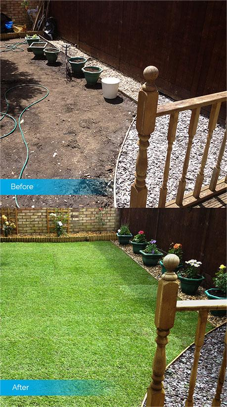 artificial grass laying before & after