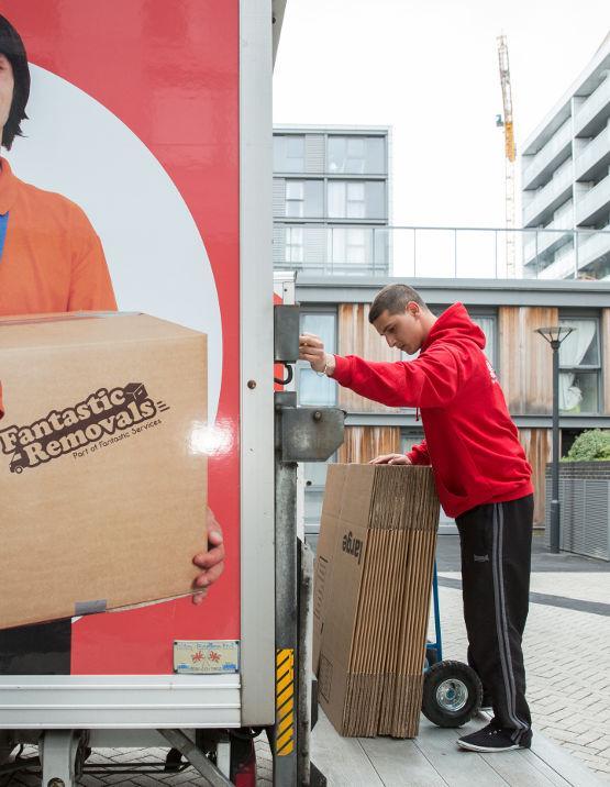 delivering cardboard boxes
